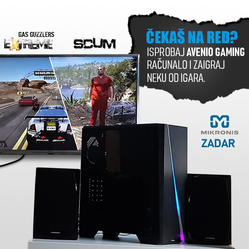 Mikronis Zadar, Igraj igre na Avenio gaming računalu, zabavi se dok čekaš u dućanu