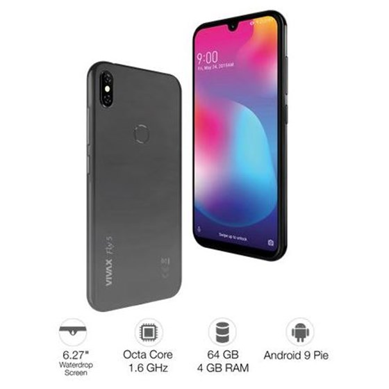 "Smartphone Vivax Smart Fly5 Pearl Gray SC9863 Octa Core 1.6GHz 4GB 64G 6.27"" Android 9.0 3G 4G WiFi Bluetooth P/N: 02357224"