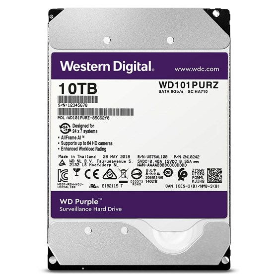 "HDD 10TB Western Digital Purple 3.5"" SATA 3 7200rpm 256MB P/N: WD101PURZ"