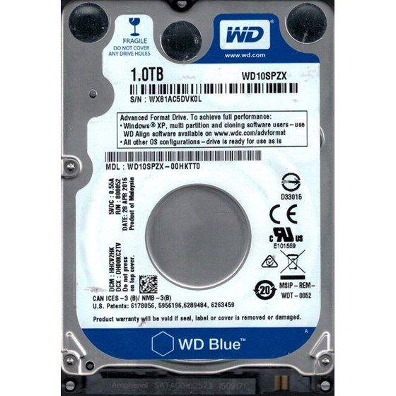 "HDD 1TB Western Digital Mobile Blue 2.5"" SATA 3 128MB 5400rpm P/N: WD10SPZX"